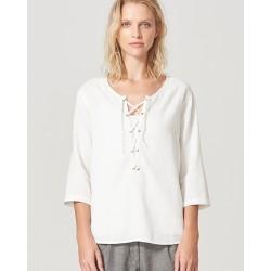 drawcord neckline blouse
